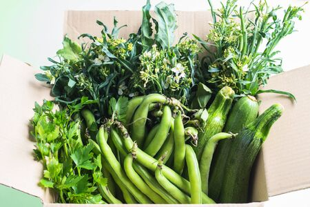 Green vegetables and herbs in cardboard box. Healthy organic food delivery concept
