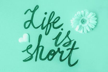 Life is short quote written on green sheet on pastel green background with flowers