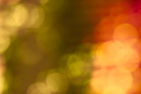 Abstract bokeh autumn colors background. Green, orange and yellow. Design backdrop. 스톡 콘텐츠