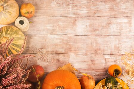 Autumn thanksgiving moody background with different pumpkins, fall fruit and flowers on rustic wooden table. Flat lay