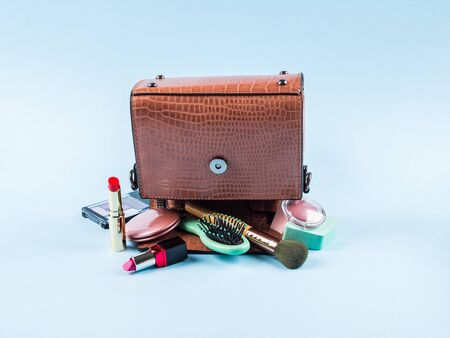 Reptile print lady hand bag upside down with make up items. Fashion beauty concept. Sale Archivio Fotografico