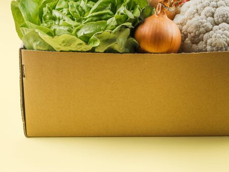 Fresh produce, food staples delivery or donation box concept on yellow background.