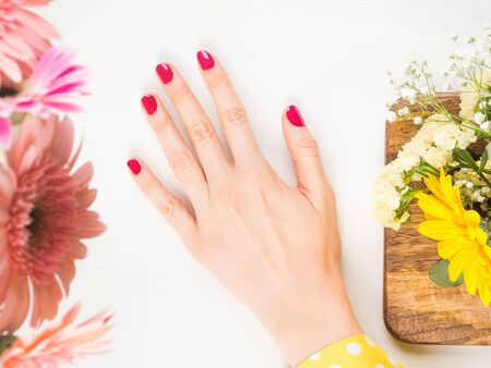 Beautiful female hand with red nails on white background with floral decor around