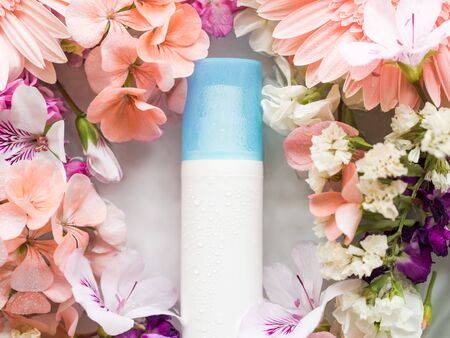 Face moisturizer in water in floral frame. Beauty skin care products concept