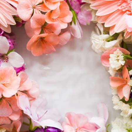 美丽的桃红色和白花在水中。方框背景