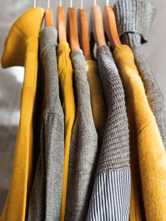 Yellow illuminated color and gray winter sweaters on wooden hangers. Trendy fashion autumn warm and cozy clothes.