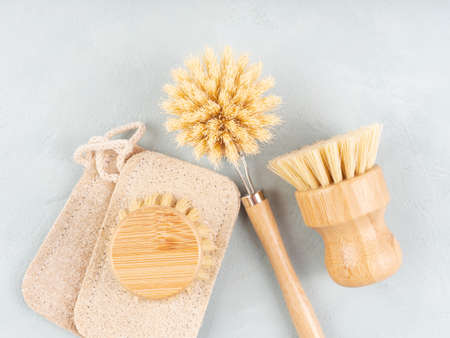Zero waste plastic free reusable dish house washing wooden brushes as natural cleaning tools