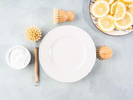 Zero waste plastic free dish house washing brush and natural cleaning product lemon and baking soda