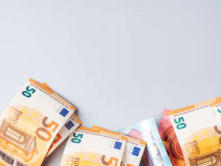 Euro money currency banknotes frame on blue background Stockfoto