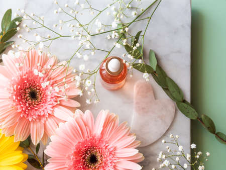 Pink quartz face roller gua sha and serum in bottle on marble table. Skin care concept with flowers Stockfoto