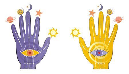psychic: Palms with psychic symbols