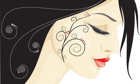 lips smile: Beautiful girl with a black spiral pattern on her cheek Illustration