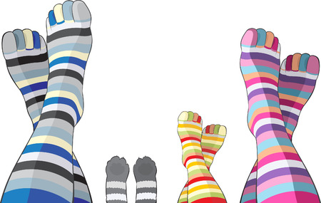 legs stockings: Happy family in color stripy socks - mom, dad, kid and cat Illustration