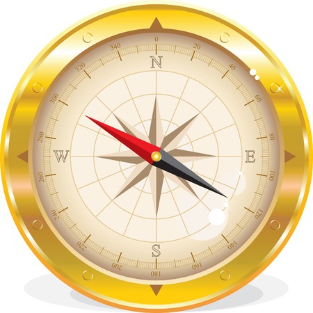 Round compass isolated on white Stock Vector - 5881297