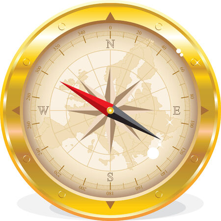 Round compass with Europe map isolated on white Vector