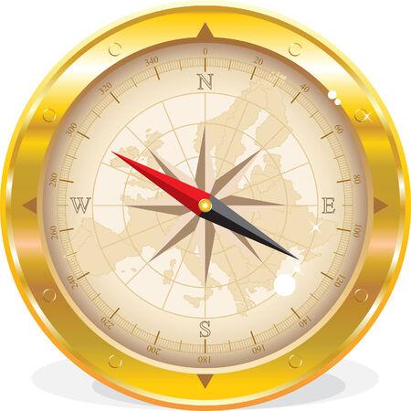 Round compass with Europe map isolated on white Vektoros illusztráció