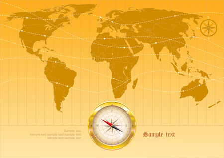Background with map of the world and compass