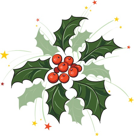 Holly branch with firework Vector