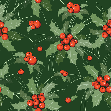 Seamless background with holly branch for Christmas Vector