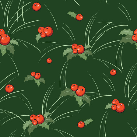 Seamless background with holly for Christmas Vector