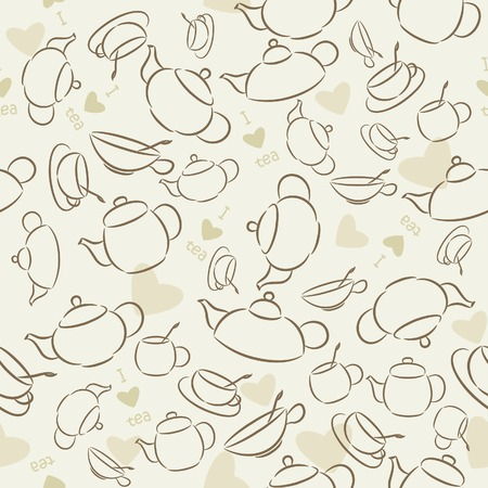 Seamless wallpaper I Love Green Tea Vector