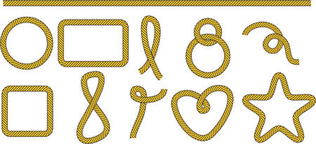 Set of frames and shapes from rope Illustration