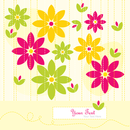 abstract flowers: Yellow greeting card with abstract flowers