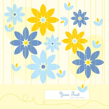 sample text: Yellow greeting card with abstract flowers