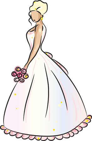 wedding dress silhouette: Bride (Blonde) with bunch of flowers, isolated on white, vector illustration
