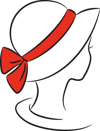 sombrero: Silueta de dama en un sombrero con una banda roja,