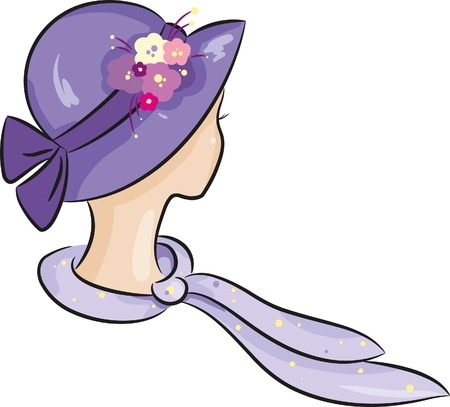 silk scarf: Lady in a violet hat Illustration