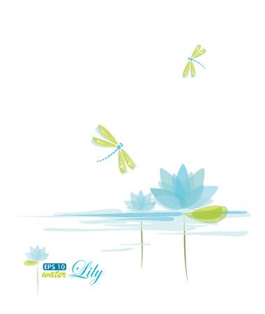 flor de loto: Lili y lib�lula, fondo de naturaleza de agua Vectores