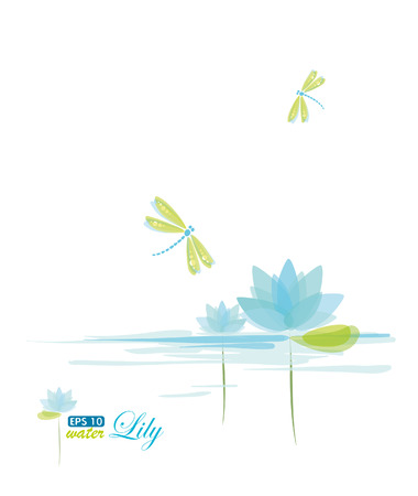Water Lili and dragonfly, nature background Vector
