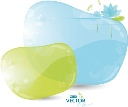 Blue and green background with lily Stock Vector - 8888801