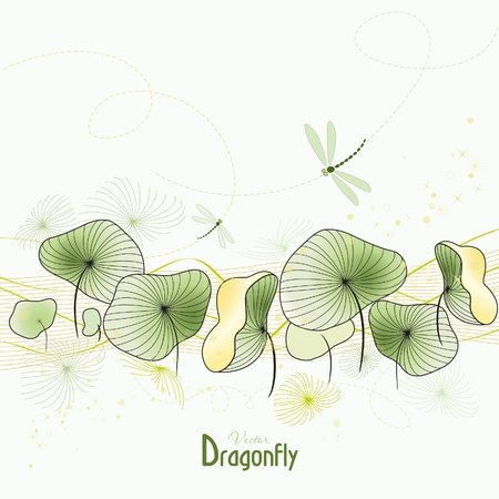 Dragonfly and Abstract Water Flower Illustration