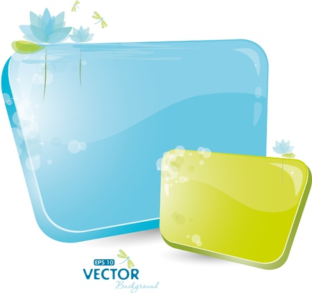 Green and blue form with lily Vector