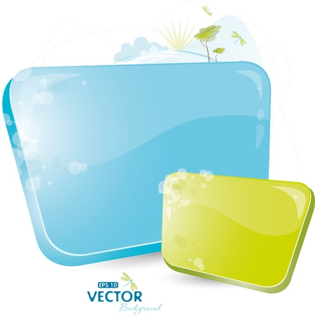 Green and blue form with tree Stock Vector - 8888798