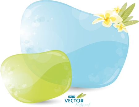 Blue and green background with frangipani Vector