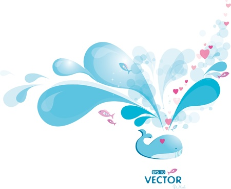 Blue whale spray Stock Vector - 8888784