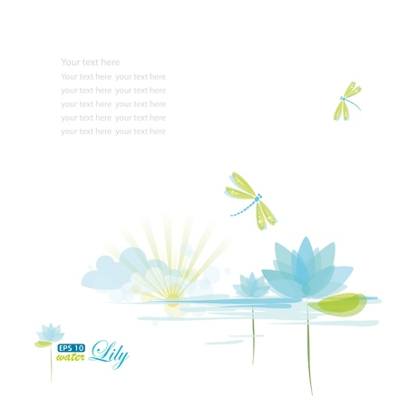 dragonfly art: Water lily and dragonfly, nature background