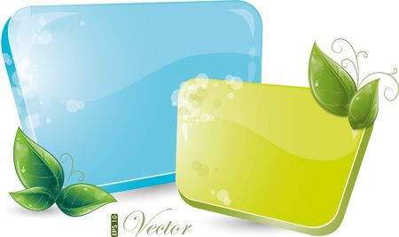 Green and blue form with leaves, eps-10 Stock Vector - 9280890