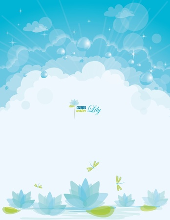 Water lily background, eps-10 Stock Vector - 9280891