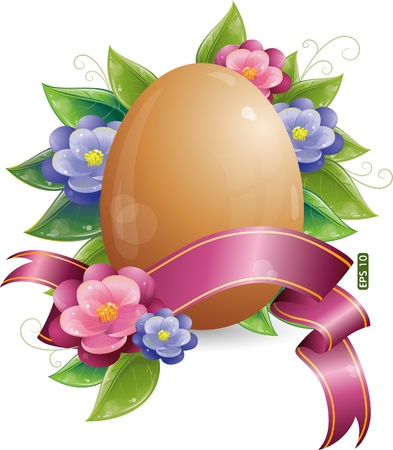 Easter egg with green leaves and flowers, eps-10 Illustration