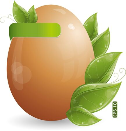Easter egg with green leaves, eps-10 Vector