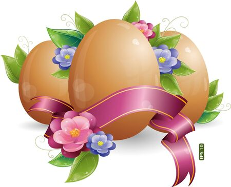 Easter egg with green leaves and flowers, eps-10 Vector