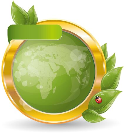 Gold circle frame with green leaf and globe, vector illustration, eps-10 Stock Vector - 9363869