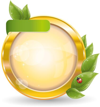 Gold circle frame with green leaf and ladybug, vector illustration, eps-10 Illustration