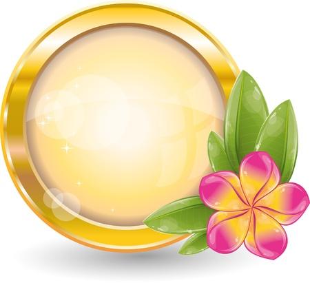 Marco de círculo de oro con frangipani Rosa flores, ilustración vectorial, eps-10