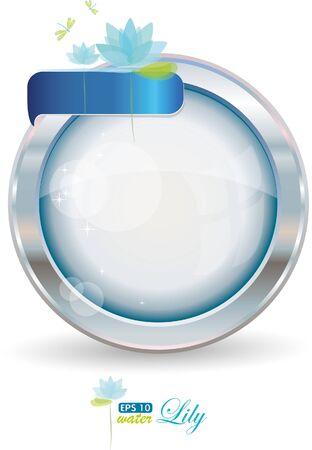 silver circle: Cornice del cerchio con acqua lilly in argento, vector illustration, eps-10