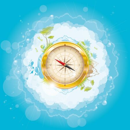 Round the world - nature design with compass, vector illustration, eps-10 Vector